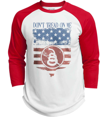 Don't Tread on Me. Rattlesnake. Faded Grunge Shield Sport-Tek Polyester Game Baseball Jersey.