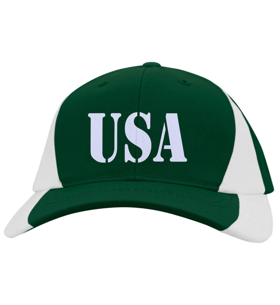 USA Patriot Hat Sport-Tek Mid-Profile Colorblock Cap. (Embroidered)-2
