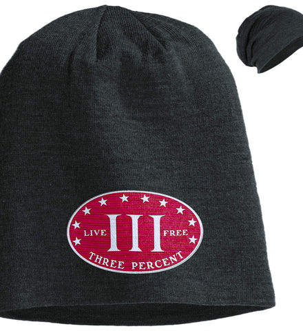 Three Percenter. Live Free. Hat. District Slouch Beanie. (Embroidered)