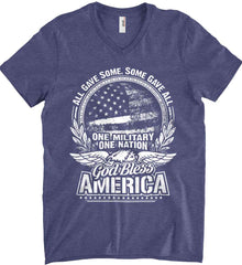 All Gave Some, Some Gave All. God Bless America. White Print. Anvil Men's Printed V-Neck T-Shirt.