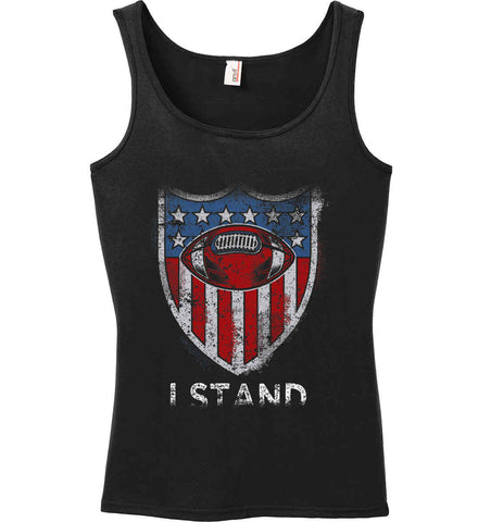 Football National Anthem. I Stand. Women's: Anvil Ladies' 100% Ringspun Cotton Tank Top.