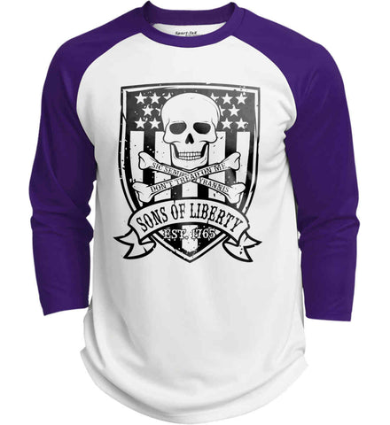 Skull and Bones on Flag. Don't Tread on Me. Sic Semper Tyrannis. Black Print. Sport-Tek Polyester Game Baseball Jersey.