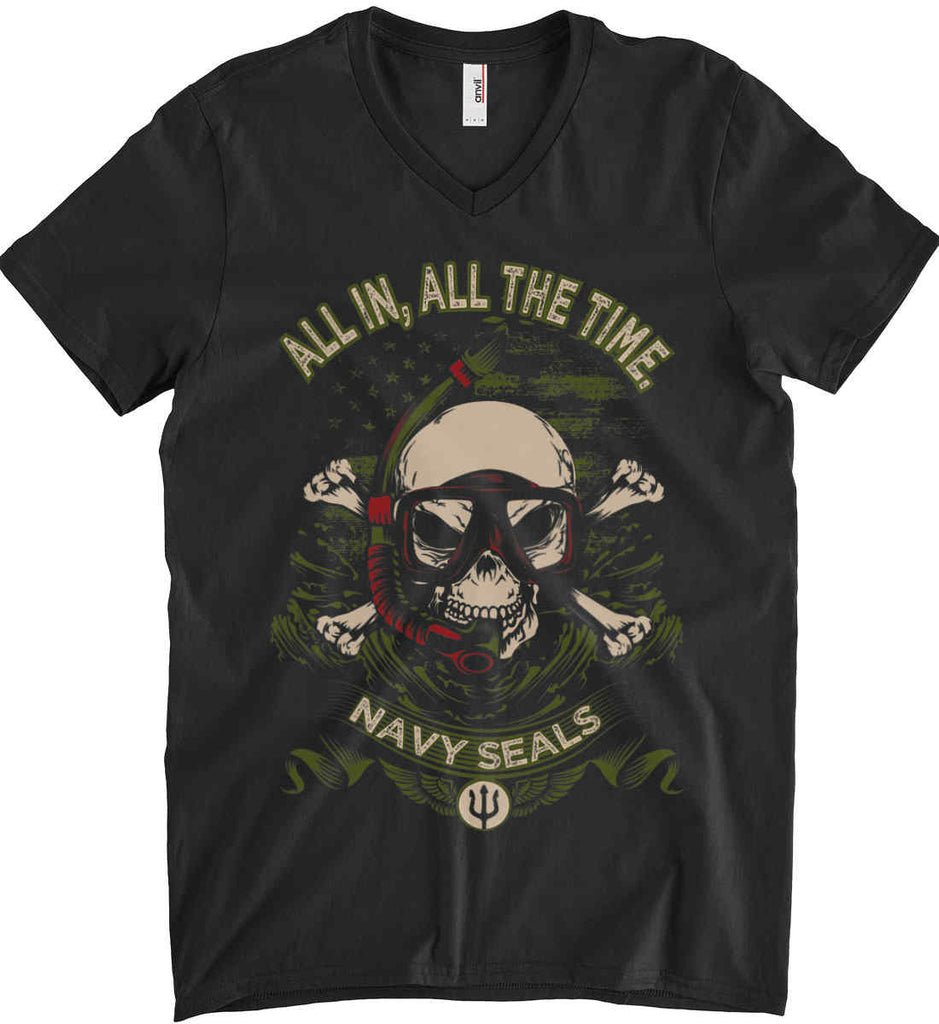 All In, All The Time. Navy Seals. Anvil Men's Printed V-Neck T-Shirt.-1