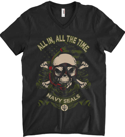All In, All The Time. Navy Seals. Anvil Men's Printed V-Neck T-Shirt.