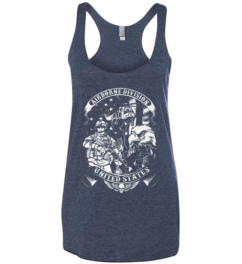 Airborne Division. United States. White Print. Women's: Next Level Ladies Ideal Racerback Tank.-2