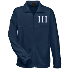 Three Percent Symbol. White. Harriton Fleece Full-Zip. (Embroidered)