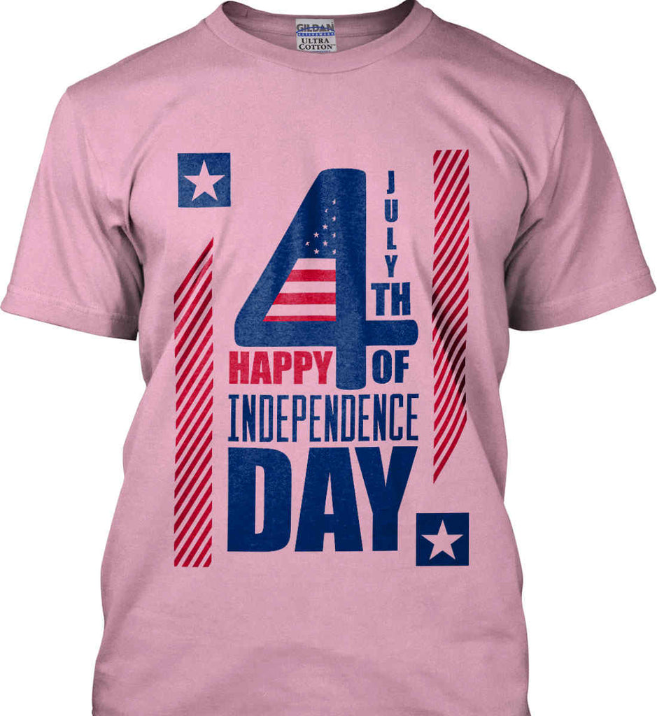 4th of July with Stars and Stripes. Gildan Ultra Cotton T-Shirt.-8