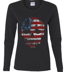 American Skull. Red, White and Blue. Women's: Gildan Ladies Cotton Long Sleeve Shirt.