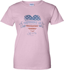 Independence Day. July, 4 1776. Women's: Gildan Ladies' 100% Cotton T-Shirt.