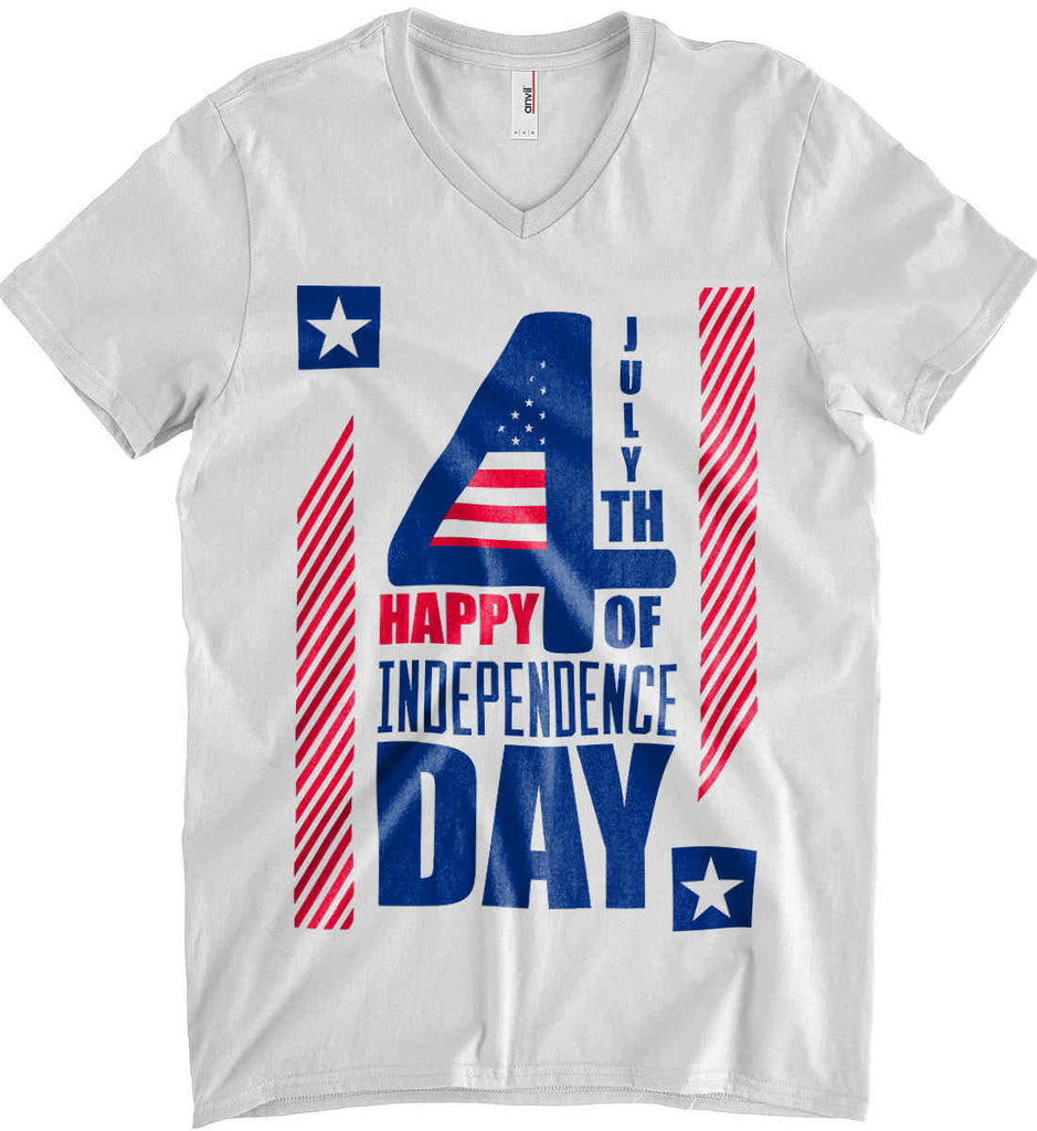 4th of July with Stars and Stripes. Anvil Men's Printed V-Neck T-Shirt.-2