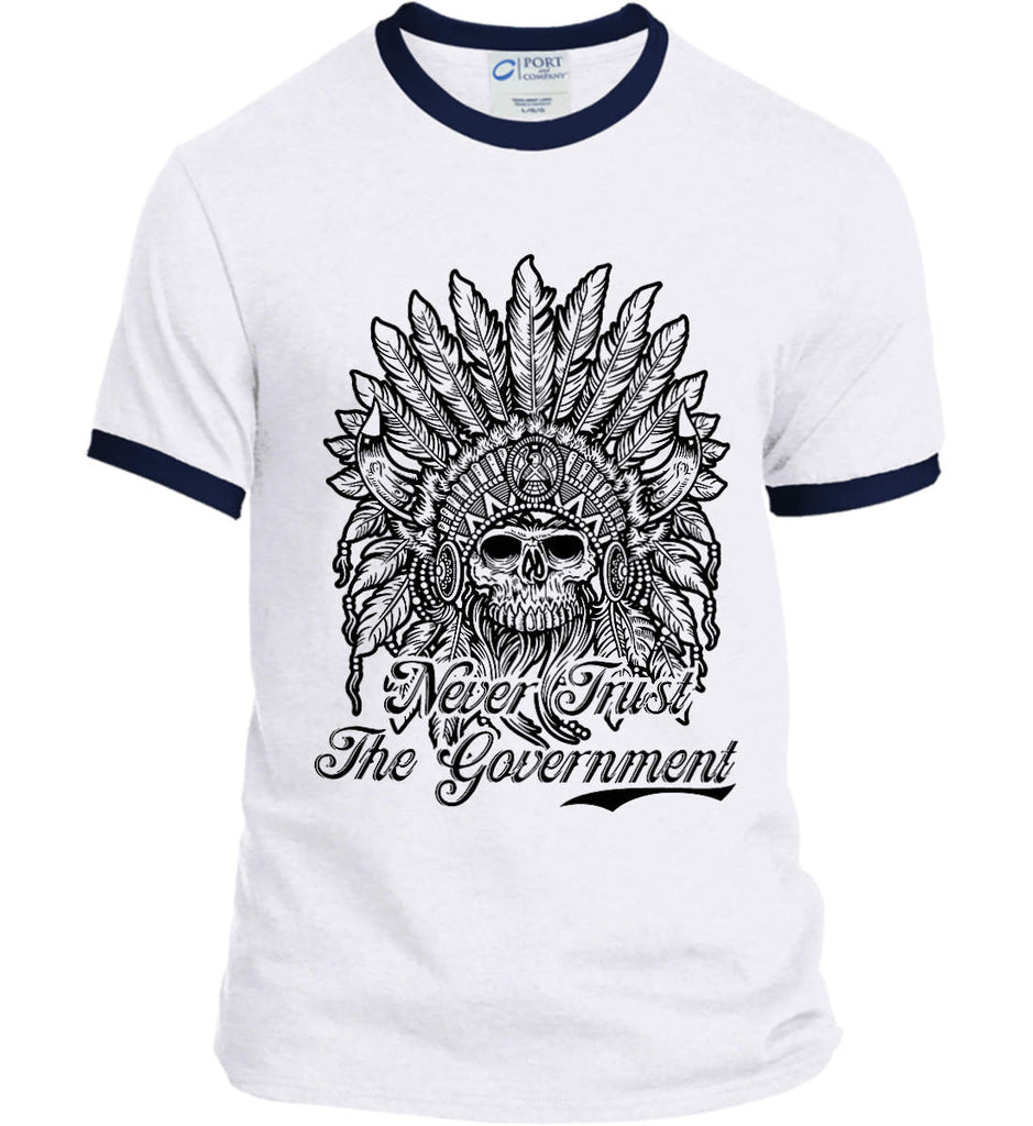 Skeleton Indian. Never Trust the Government. Port and Company Ringer Tee.-4
