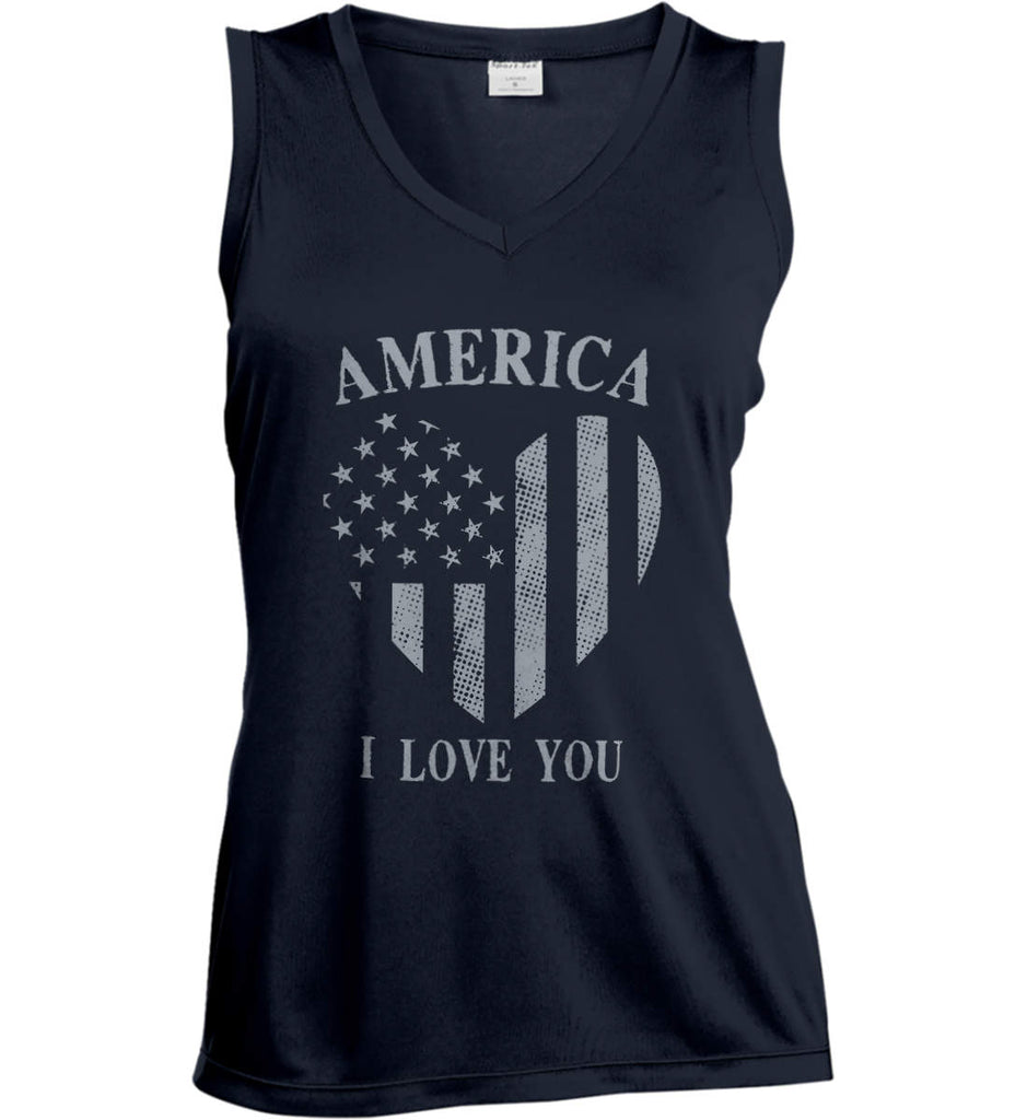 America I Love You Women's: Sport-Tek Ladies' Sleeveless Moisture Absorbing V-Neck.-2