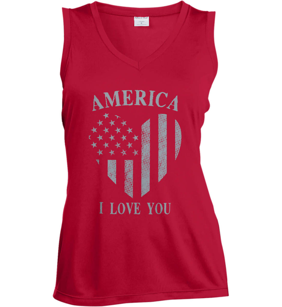 America I Love You Women's: Sport-Tek Ladies' Sleeveless Moisture Absorbing V-Neck.-3