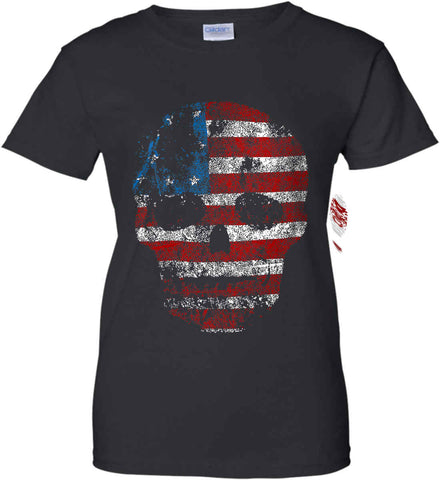 American Skull. Red, White and Blue. Women's: Gildan Ladies' 100% Cotton T-Shirt.