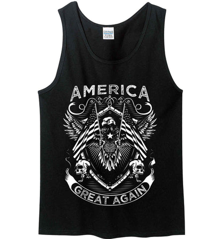 America. Great Again. White Print. Gildan 100% Cotton Tank Top.