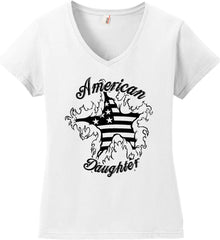 American Daughter. Women's Patriot Design. Women's: Anvil Ladies' V-Neck T-Shirt.
