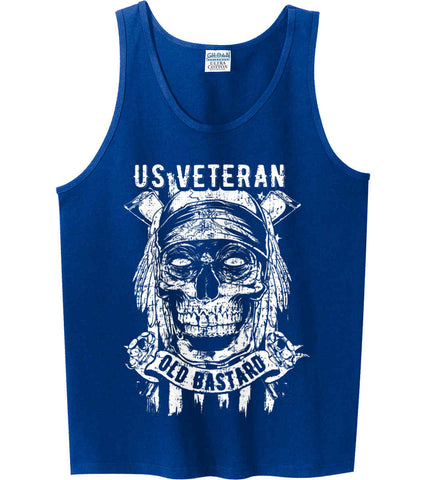 US Veteran. Skull on Flag. White Print. Gildan 100% Cotton Tank Top.