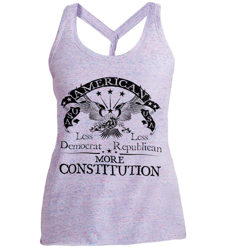 America: Less Democrat - Less Republican. More Constitution. Black Print Women's: District Made Ladies Cosmic Twist Back Tank.-1