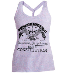 America: Less Democrat - Less Republican. More Constitution. Black Print Women's: District Made Ladies Cosmic Twist Back Tank.