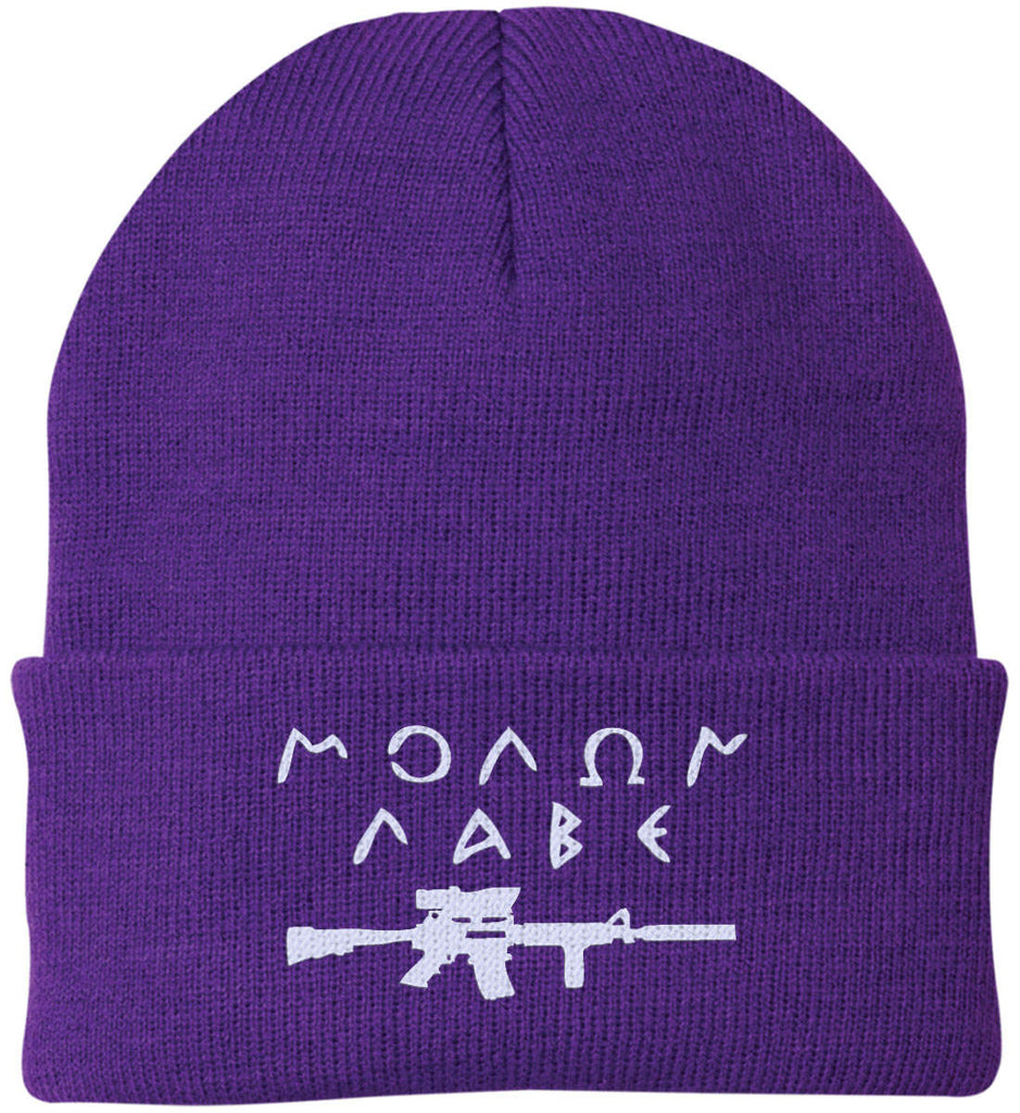 Molon Labe Rifle Hat. Port Authority Knit Cap. (Embroidered)-7