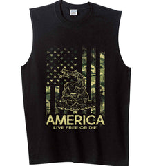 America. Live Free or Die. Don't Tread on Me. Camo. Gildan Men's Ultra Cotton Sleeveless T-Shirt.
