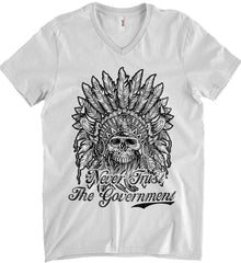 Skeleton Indian. Never Trust the Government. Anvil Men's Printed V-Neck T-Shirt.