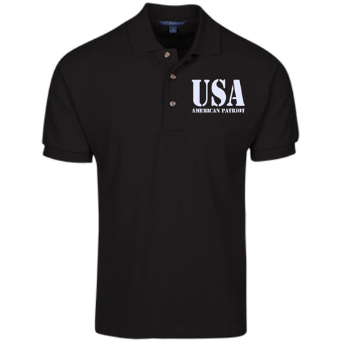 USA. American Patriot. Port Authority Cotton Pique Knit Polo. (Embroidered)