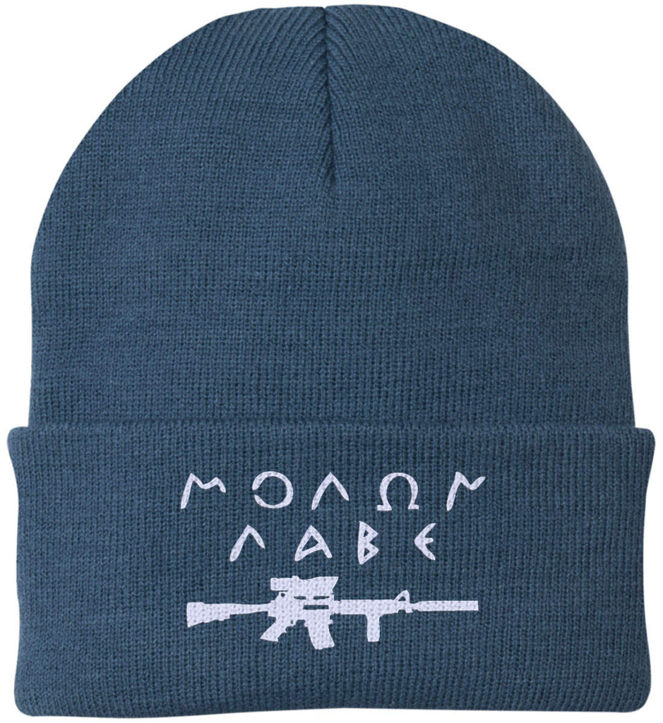 Molon Labe Rifle Hat. Port Authority Knit Cap. (Embroidered)-9