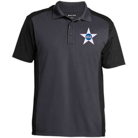 USA. Inside Star. Red, White and Blue. Sport-Tek Men's Colorblock Sport-Wick Polo. (Embroidered)