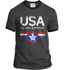 USA All Day Everyday. Port and Company Ringer Tee.