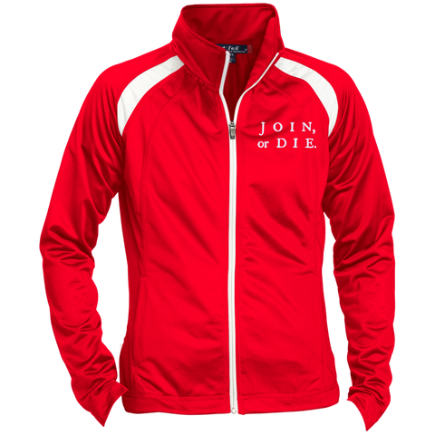 Join Or Die. White Text. Women's: Sport-Tek Ladies' Raglan Sleeve Warmup Jacket. (Embroidered)