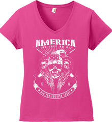 Did you America Today. 1776. Live Free or Die. Skull. White Print. Women's: Anvil Ladies' V-Neck T-Shirt.