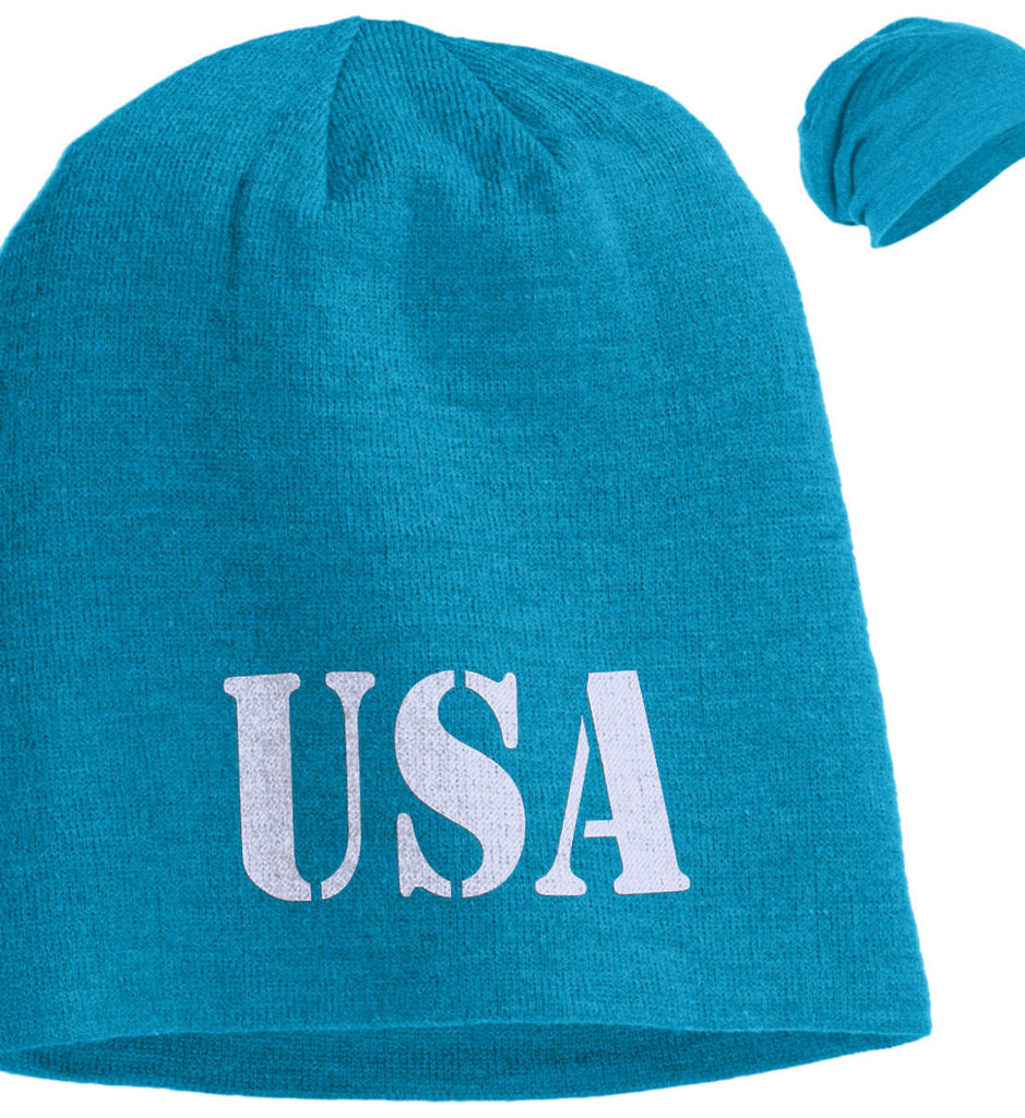 USA Patriot Hat District Slouch Beanie. (Embroidered)-5
