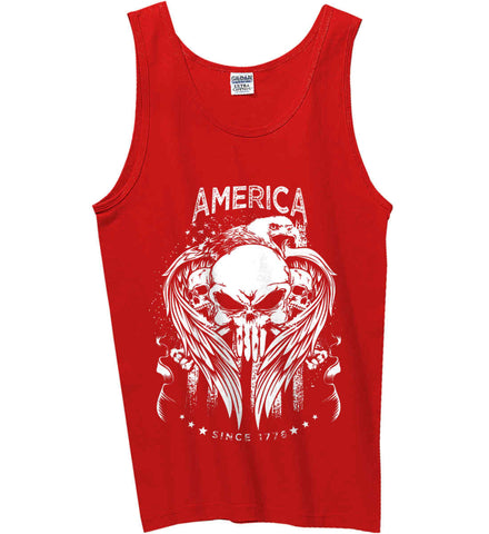 America. Punisher Skull and Bones. Since 1776. White Print. Gildan 100% Cotton Tank Top.