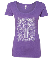 America Needs God and Guns. White Print. Women's: Next Level Ladies' Triblend Scoop.