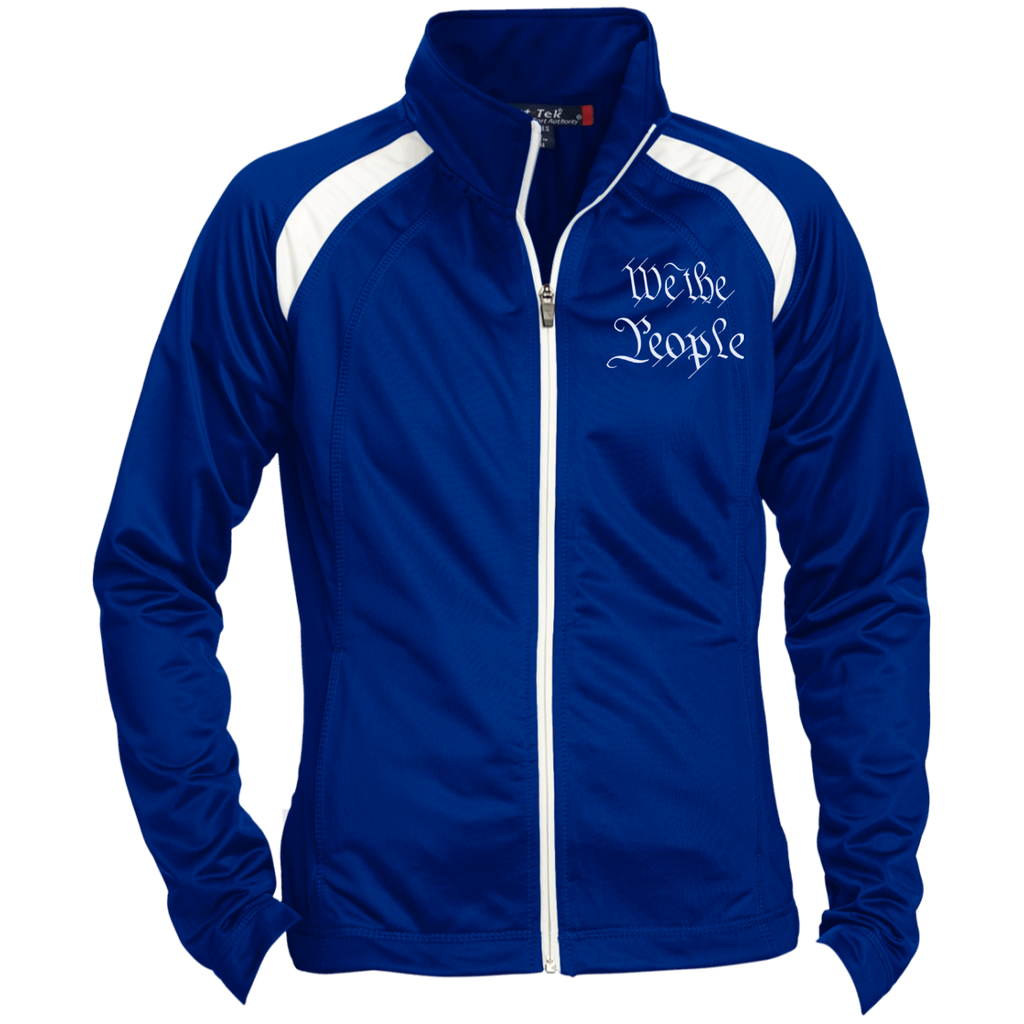 We the People. White Text. Women's: Sport-Tek Ladies' Raglan Sleeve Warmup Jacket. (Embroidered)-6