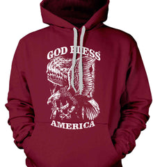God Bless America. Eagle on Flag. White Print. Gildan Heavyweight Pullover Fleece Sweatshirt.