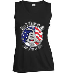 Don't Tread on Me: Red, White and Blue. Live Free or Die. Women's: Sport-Tek Ladies' Sleeveless Moisture Absorbing V-Neck.