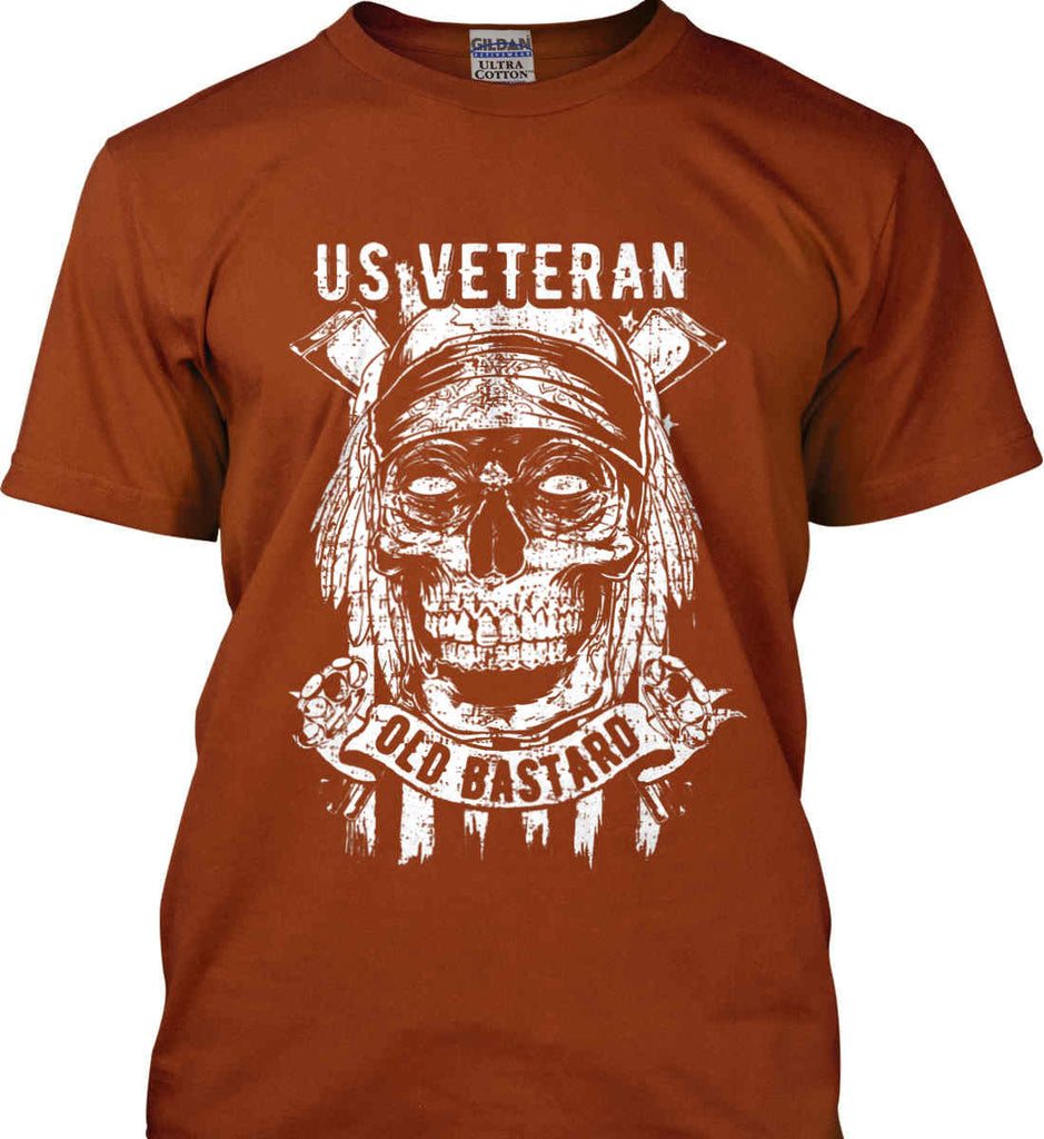 US Veteran. Skull on Flag. White Print. Gildan Ultra Cotton T-Shirt.-12