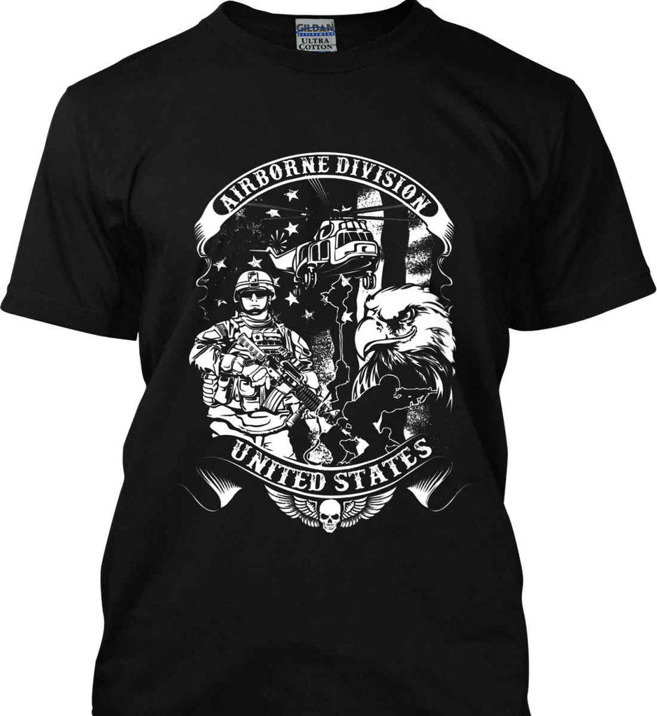 Airborne Division. United States. White Print. Gildan Ultra Cotton T-Shirt.-1