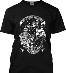 Airborne Division. United States. White Print. Gildan Ultra Cotton T-Shirt.