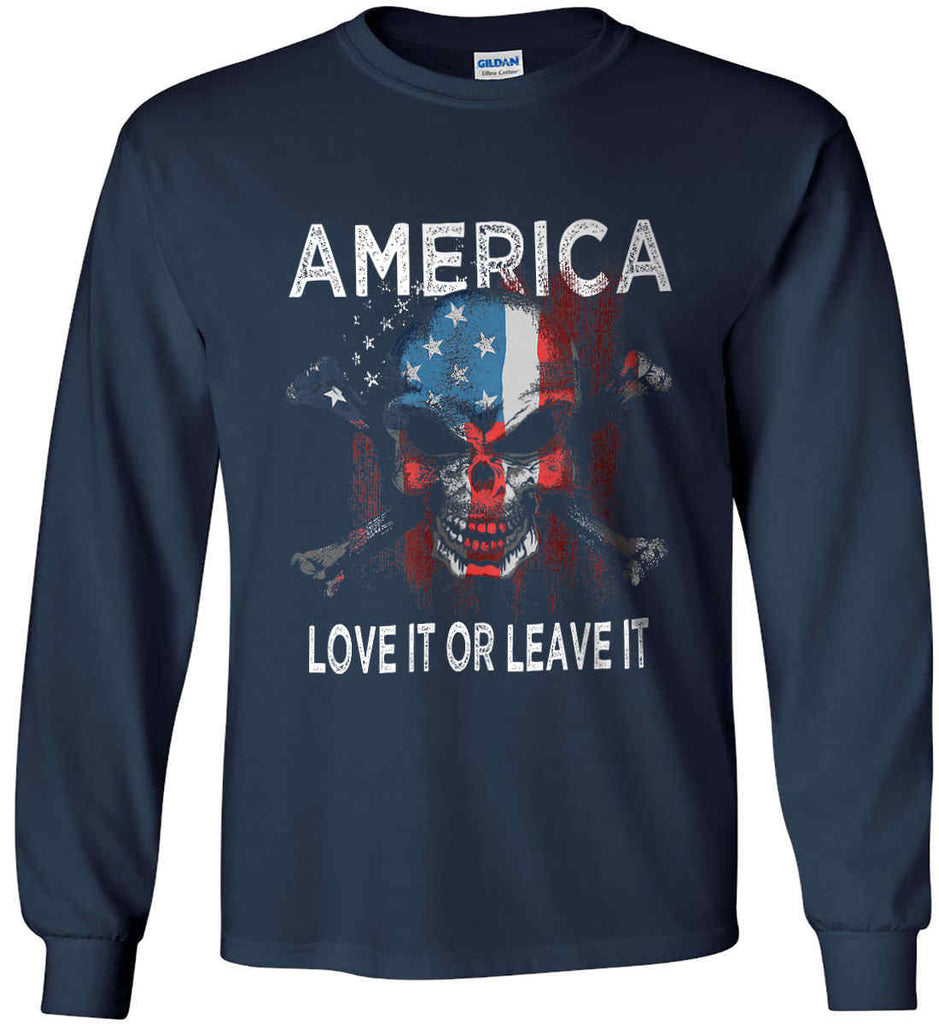 America. Love It or Leave It. Gildan Ultra Cotton Long Sleeve Shirt.-2