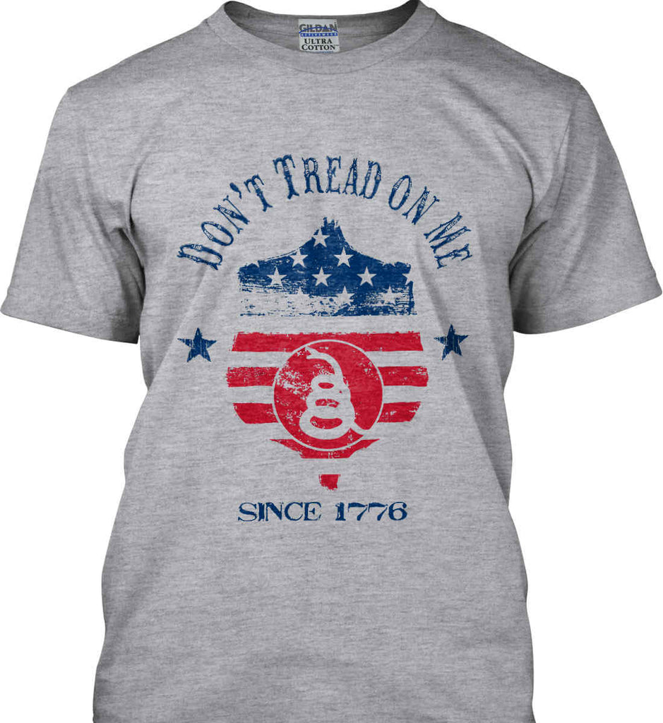 Don't Tread on Me. Snake on Shield. Red, White and Blue. Gildan Tall Ultra Cotton T-Shirt.-2