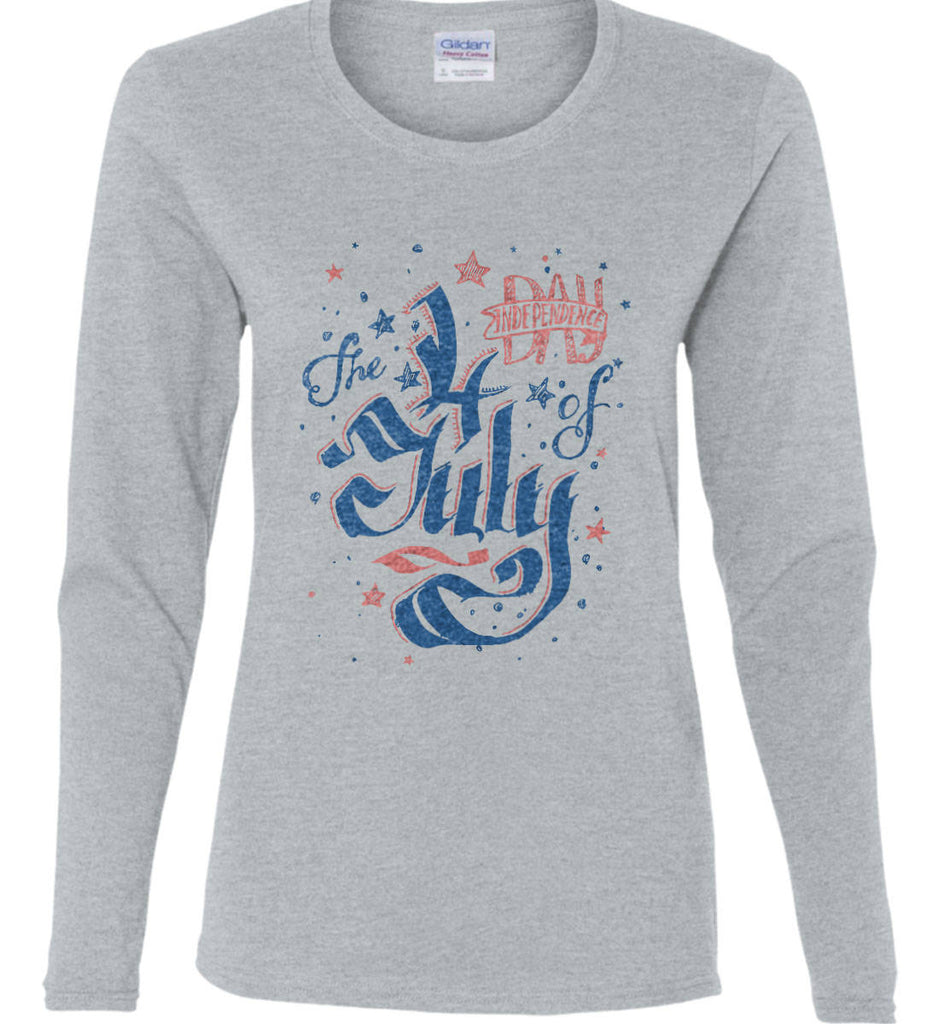 The 4th of July. Ribbon Script. Women's: Gildan Ladies Cotton Long Sleeve Shirt.-4