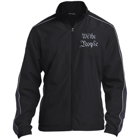 We the People. White Text. Sport-Tek Colorblock Windbreaker. (Embroidered)