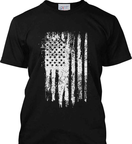 Grungy Grey USA Flag Port & Co. Made in the USA T-Shirt.