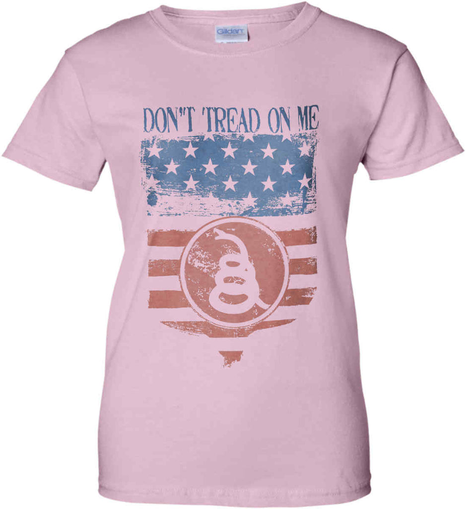 Don't Tread on Me. Rattlesnake. Faded Grunge Shield Women's: Gildan Ladies' 100% Cotton T-Shirt.-1