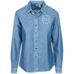 Three Percent III. Surrounded by Stars. Women's: Port Authority Women's LS Denim Shirt. (Embroidered)