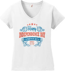 Happy Independence Day. Fourth of July. 1776. Women's: Anvil Ladies' V-Neck T-Shirt.