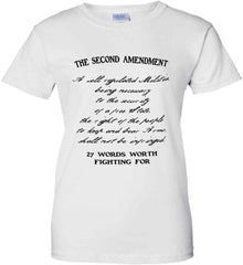 The Second Amendment. 27 Words Worth Fighting For. Second Amendment. Black Print. Women's: Gildan Ladies' 100% Cotton T-Shirt.